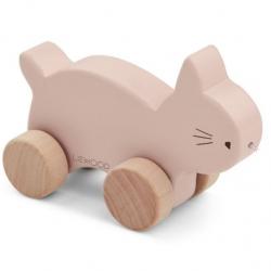 Petit chat à roulettes en bois