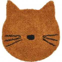 Tapis rond chat moutarde