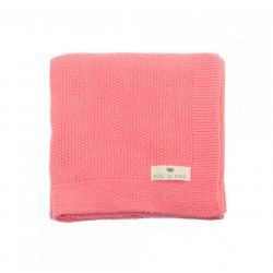 Couverture tricotée coton rose