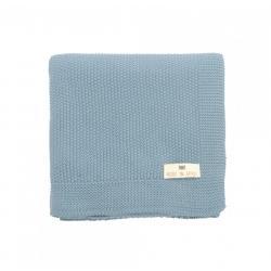 Couverture tricotée coton bleu