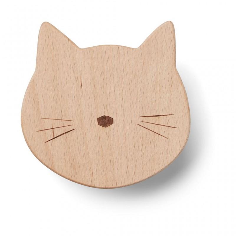 Patère en bois chat
