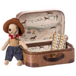 Souris cow boy et sa valise