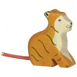 Petit tigre assis en bois